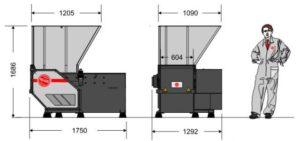 Одновальный шредер МR 22-60 (габаритные размеры)