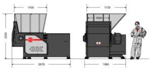 Одновальный шредер MR 40-100 (габаритные размеры)