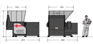 Одновальный шредер MR 40-120 (габаритные размеры)