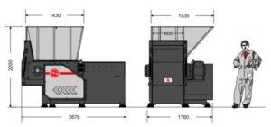 Одновальный шредер MR 40-80 (габаритные размеры)