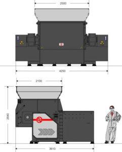 Одновальный шредер MR 48-200 (габаритные размеры)