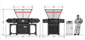 Двухвальный шредер B-70/80S (габаритные размеры)