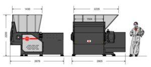 Одновальный шредер MR 40-140 (габаритные размеры)