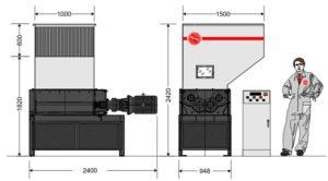 Четырёхвальный шредер 10080S (габаритные размеры)