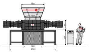 Четырёхвальный шредер 120130S-MAX (габаритные размеры)