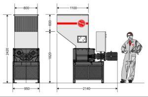 Четырёхвальный шредер 4080S (габаритные размеры)