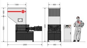 Четырёхвальный шредер 6080S (габаритные размеры)
