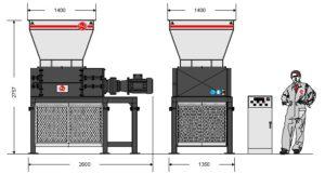 Четырёхвальный шредер 80-100S (габаритные размеры)