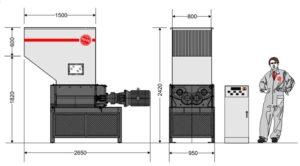 Четырёхвальный шредер 8080S (габаритные размеры)
