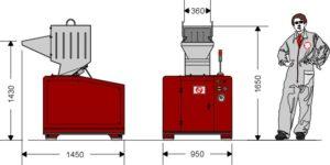 Грануляторная дробилка GR360ML (габаритные размеры)