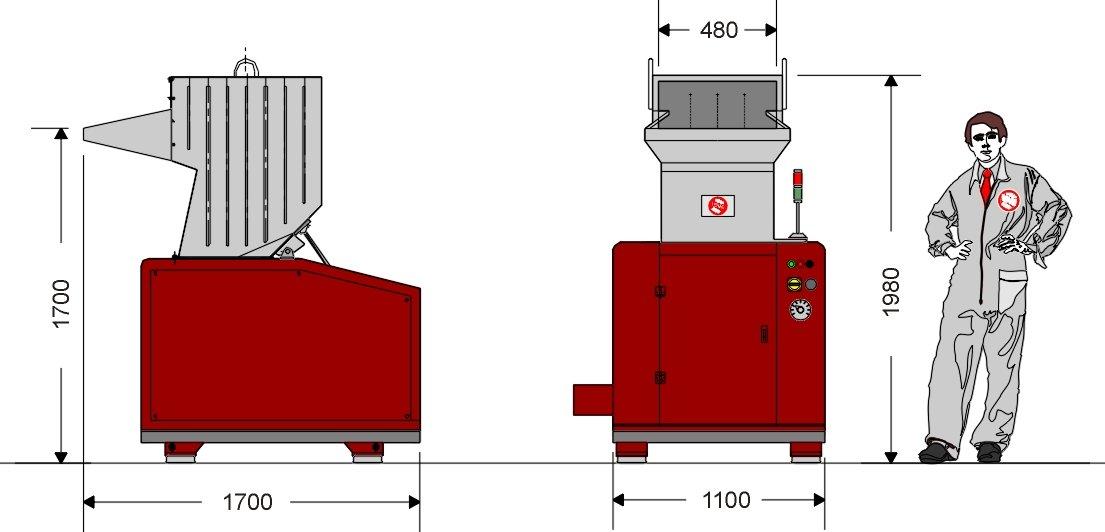 Грануляторная дробилка GR480ML (габаритные размеры)